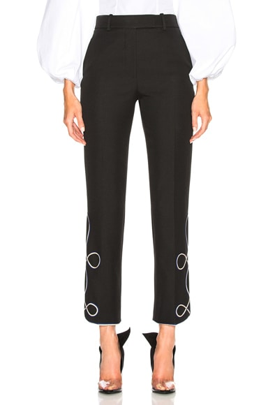 Uniform Twill Embroidered Cropped Trousers