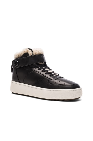 Coach 1941 Shearling Turnlock Leather Sneakers in Black