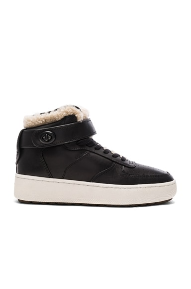 Shearling Turnlock Leather Sneakers