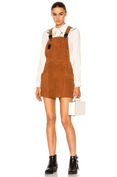 Coach 1941 Suede Pinafore Dress in Saddle