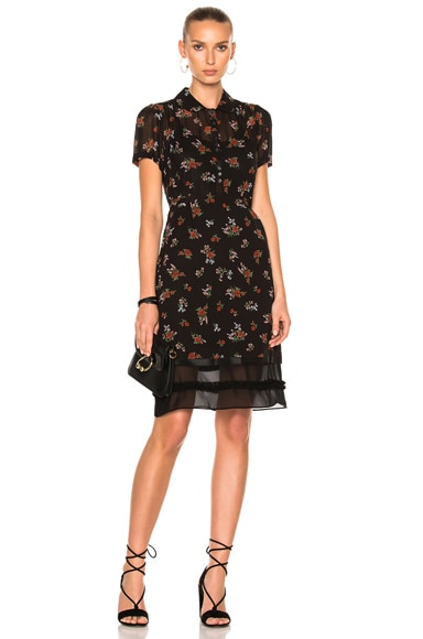 Coach 1941 Georgette Shirtdress in Black Multicolor