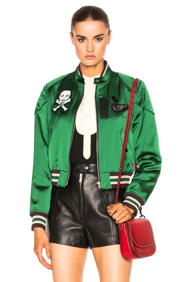 Coach 1941 Satin Cropped Varsity Jacket in Cypress