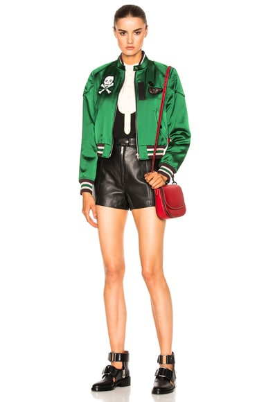 Satin Cropped Varsity Jacket