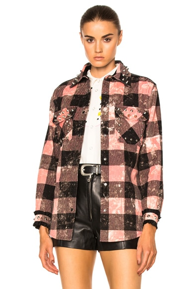 Coach 1941 Studded Plaid Top in Pink