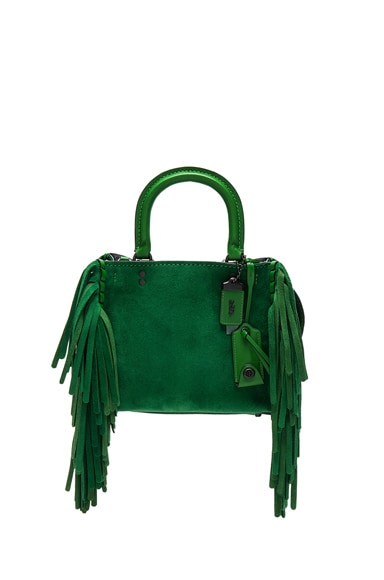 Coach 1941 Suede Fringe Rogue Bag in Kelly Green