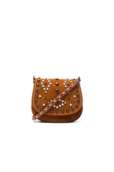 Coach 1941 Suede Western Rivets Saddle Bag 17 in Ginger