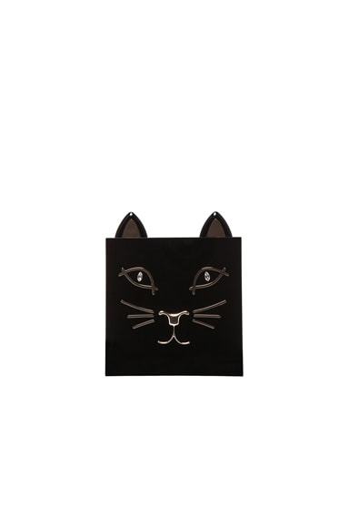 Charlotte Olympia Kitty Clutch in Black