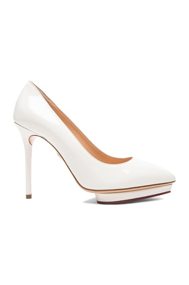 Charlotte Olympia Debbie Covered Patent Leather Platform Heels in Off White