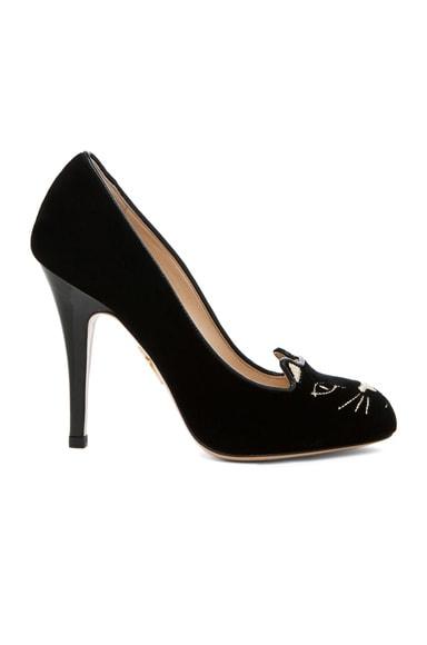 Charlotte Olympia Kitty Velvet Pumps in Black