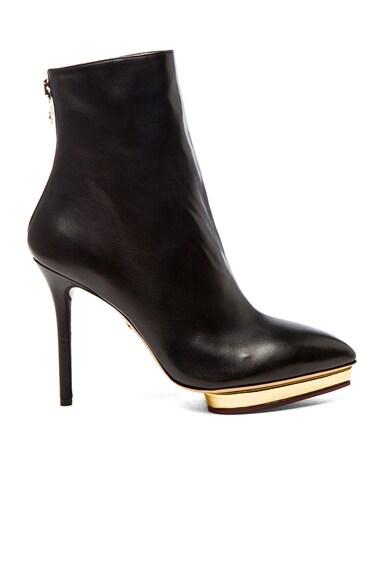 Charlotte Olympia Deborah Nappa Leather Booties in Black