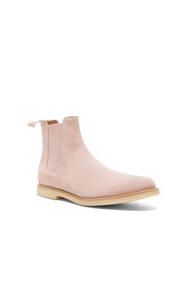 Common Projects Suede Chelsea Boots in Blush