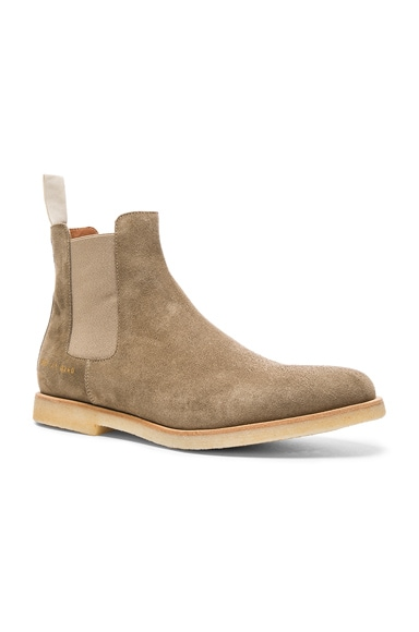 Common Projects Suede Chelsea Boots in Taupe