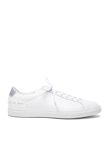 Common Projects Leather Achilles Retro Low in White & Silver