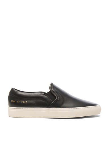 Common Projects Leather Slip on Retro in Black