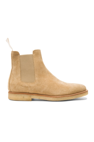 Common Projects Suede Chelsea Boots in Tan