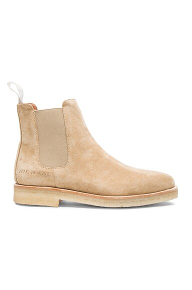 Common Projects Suede Chelsea Boots in Sand