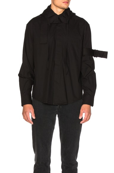 Craig Green Cotton Hooded Shirt in Black