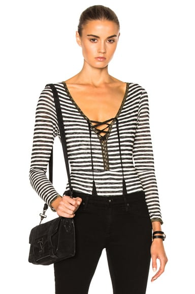 Catherine Fulmer Knit Bodysuit in Black & White