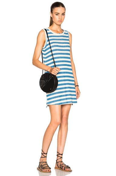 Current/Elliott Muscle Tee Dress in Blue Wayfarer Stripe