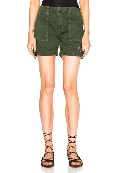 Current/Elliott Industrial Trouser Shorts in Dark Olive