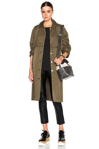 Current/Elliott Storm Flap Trench Coat in Army Green