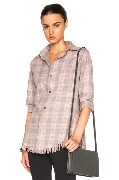 Current/Elliott The Prep School Fray Button Up in Pink Tinsel Plaid
