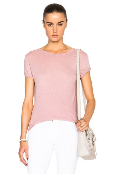 Current/Elliott Rolled Sleeve Crew Tee in Coral Rose Satellite