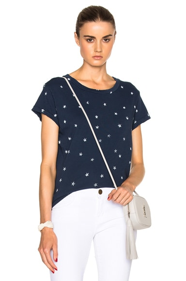 Current/Elliott Crew Neck Tee in Mini White Stars & Navy