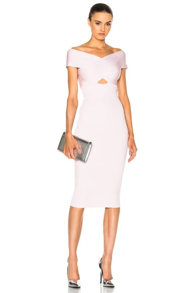 Crossover Boatneck Pencil Dress