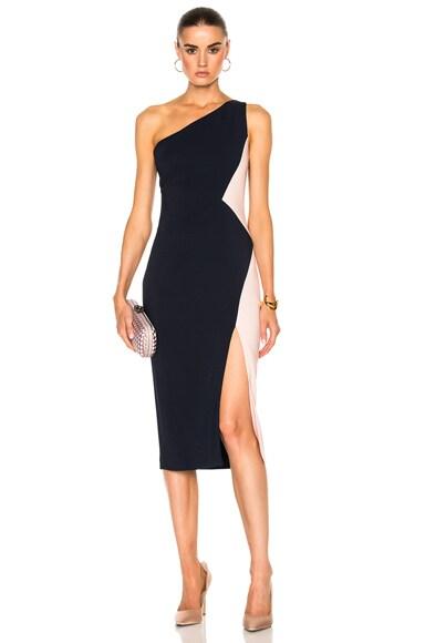 One Shoulder Color Block Stretch Viscose Dress