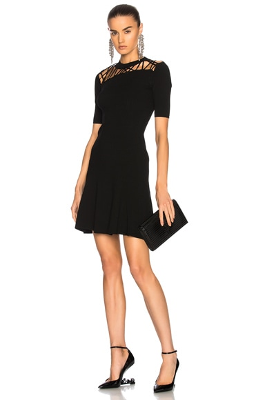 Fractured Lacing Short Sleeve Flare Dress