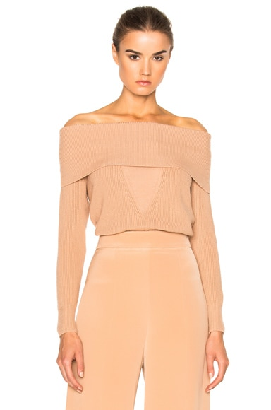 Cushnie et Ochs Off Shoulder Sweater in Sand