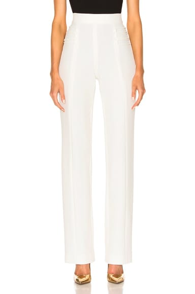 Cushnie et Ochs Stretch Twill High-Waisted Pants in Soft White