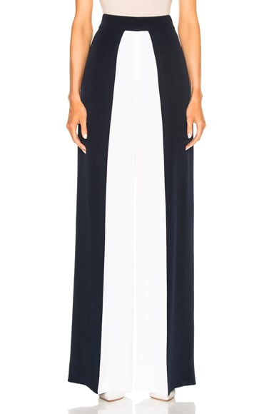 Cushnie et Ochs Color Blocked High Waisted Wide Leg Silk Pant in Navy & White