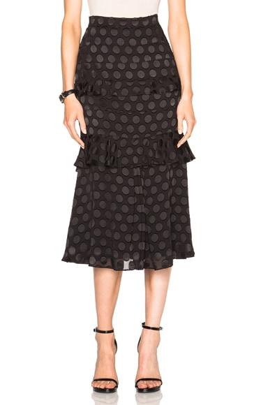 Cushnie et Ochs Silk Dot Skirt in Black