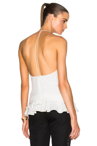 Cushnie et Ochs Silk Crepe Top in Soft White