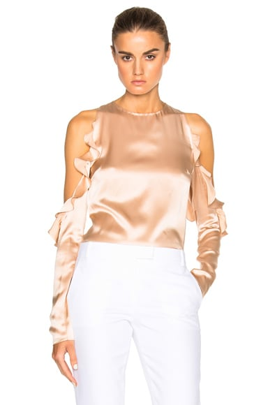 Cushnie et Ochs Cut Out Shoulder Top in Champagne