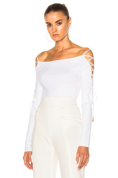 Cushnie et Ochs Boatneck Lace Up Sleeve Bodysuit in White