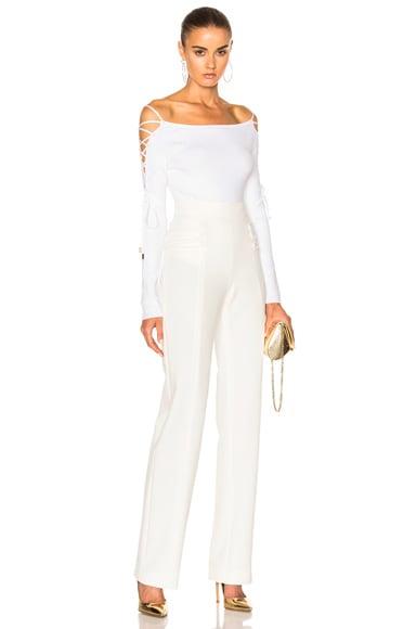 Boatneck Lace Up Sleeve Bodysuit