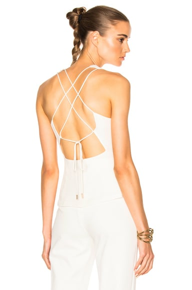 Silk Crepe Lace Back Top