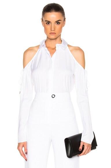 Cold Shoulder Button Up Blouse