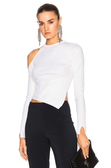 Long Sleeved Single Cold Shoulder Crop Top