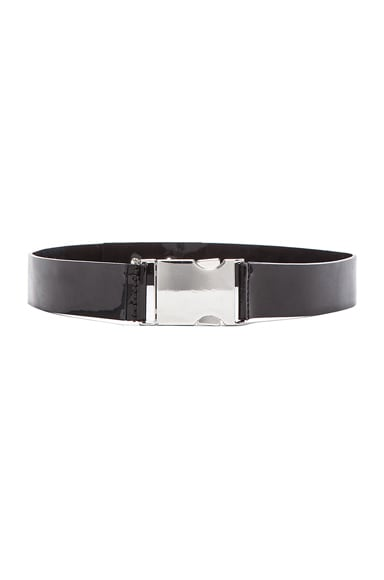 David Koma Patent Leather Buckle Belt in Black & Silver