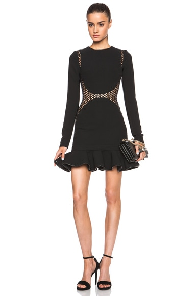 David Koma Macrame Contouring Ruffled Hem Dress in Black