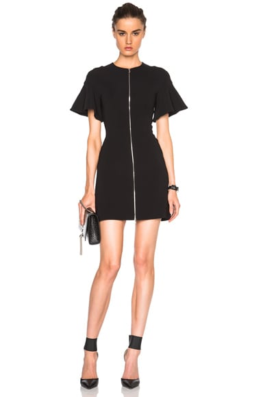 David Koma Front Zip Flounce Sleeve Mini Dress in Black