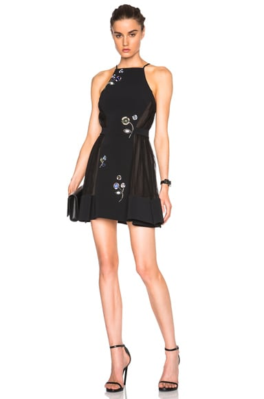 David Koma Flower Embroidery A Line Dress in Black & Blue