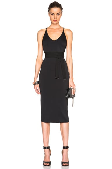 David Koma Side Cut Out Pencil Dress in Navy & Black