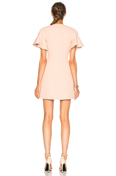 Front Zip Flounce Sleeve Mini Dress