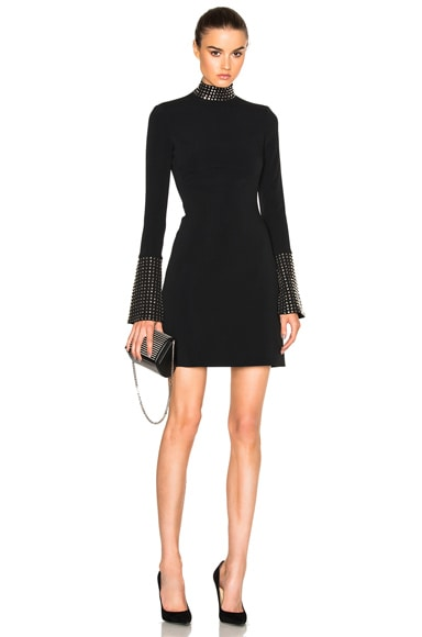 David Koma Metal Stud Collar Dress in Black & Silver