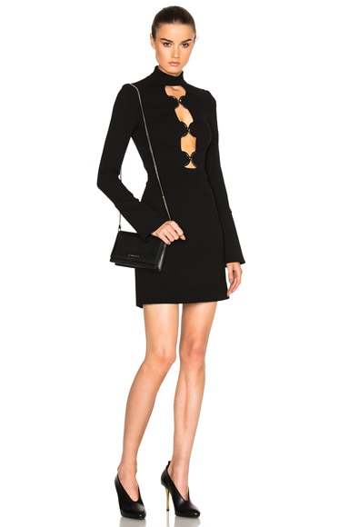 David Koma Metal Curves Chest Dress in Black